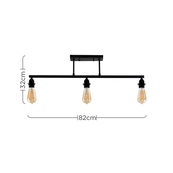 FILLATT STEAMPUNK 3 WAY BAR SATIN BLACK CEILING LIGHT