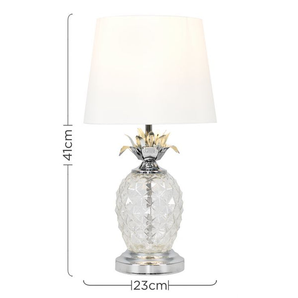 CLEAR GLASS / CHROME PINEAPPLE TOUCH TABLE LAMP OFF WHITE SHADE