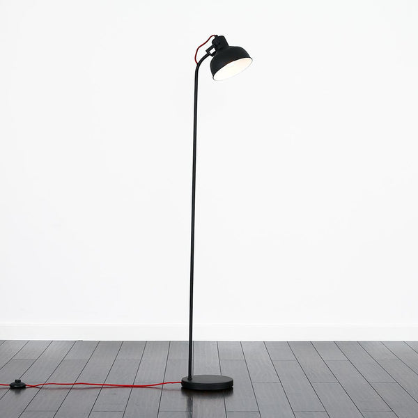 MARLEY MATT BLACK CURVED FLOOR LAMP RED FLEX