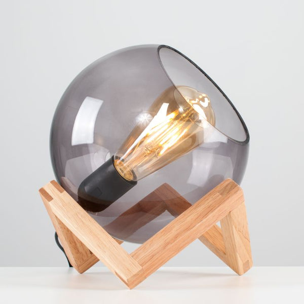 CRUZ GLASS GLOBE AN A WOOD STAND TABLE LAMP