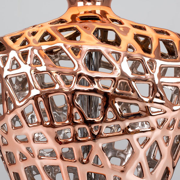 Kalvin Lattice Ceramic Base Copper Table Lamp (No Shade)