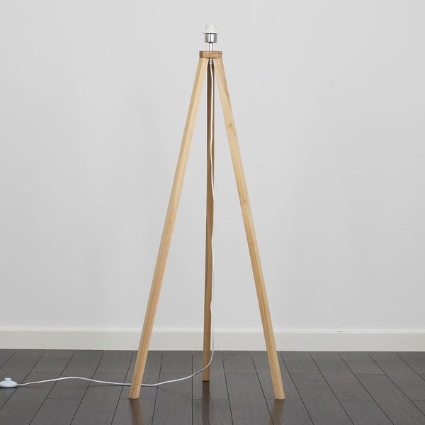 Barbro Light Wood Tripod Floor Lamp