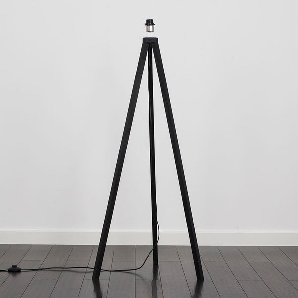 Barbro Black Wood Tripod Floor Lamp