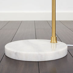 EDDIE SATIN BRASS FLOOR LAMP WITH WHITE MARBLE BASE