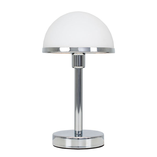 LeVoque Chrome & White Art Deco Touch Table Lamp