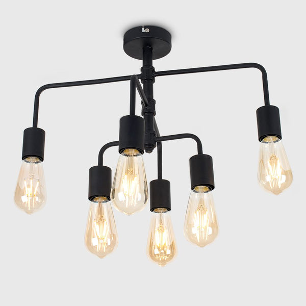 FENTON 6 WAY BLACK STEAMPUNK CEILING LIGHT