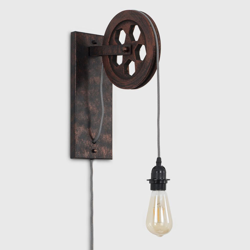 ANDERTON BLACK STEAMPUNK PULLEY WALL LIGHT