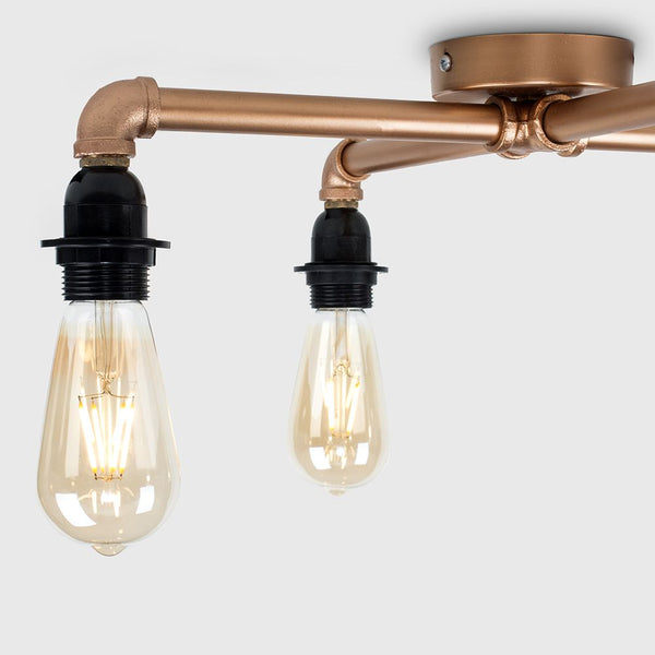 LUIGGI STEAMPUNK 4 WAY CEILING LIGHT IN COPPER