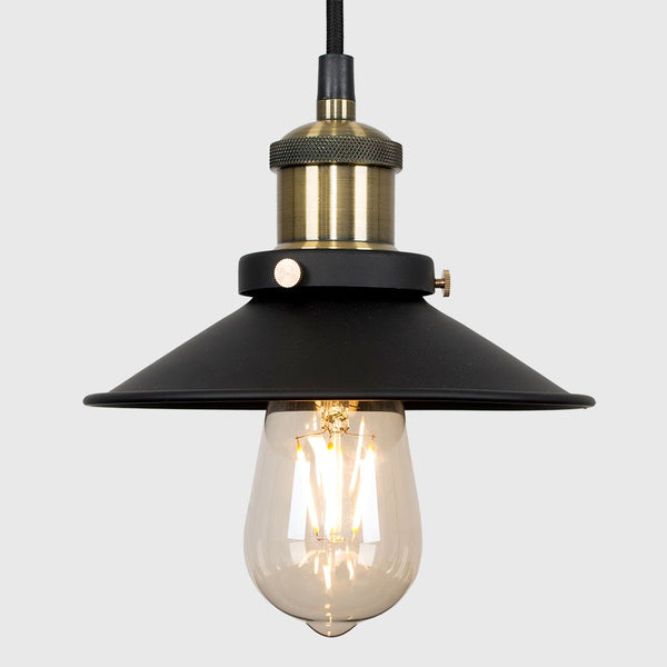 COLONIAL STEAMPUNK ANTIQUE BRASS BLACK CEILING PENDANT