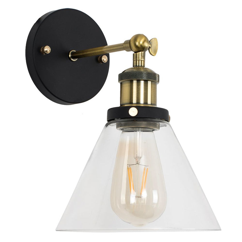 Norton Steampunk Wall Light Clear Glass Shade