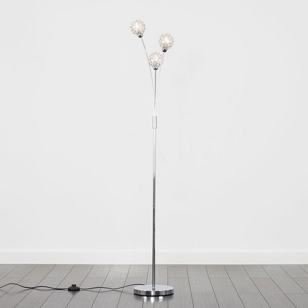 DUCY 3 WAY FLOOR LAMP CHROME