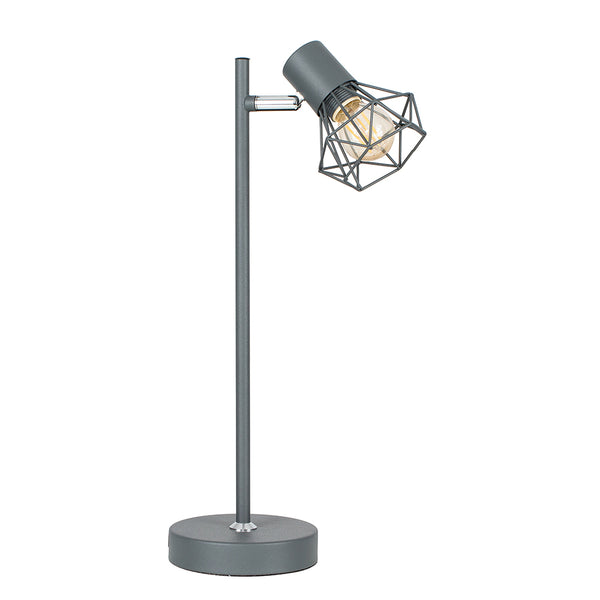 Angus Pewter Grey Geometric Adjustable Desk Lamp