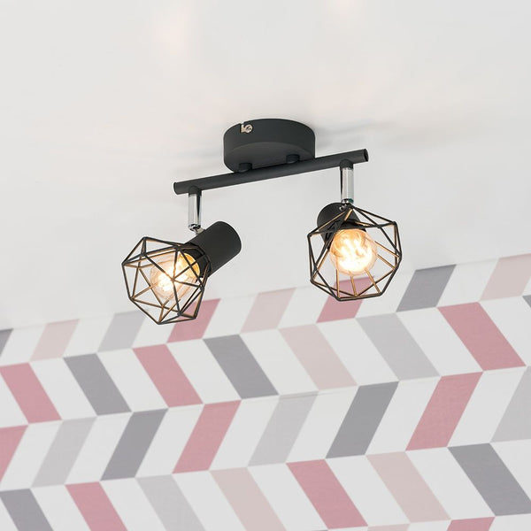 Angus 2 Way Pewter Grey Geometric Spotlight