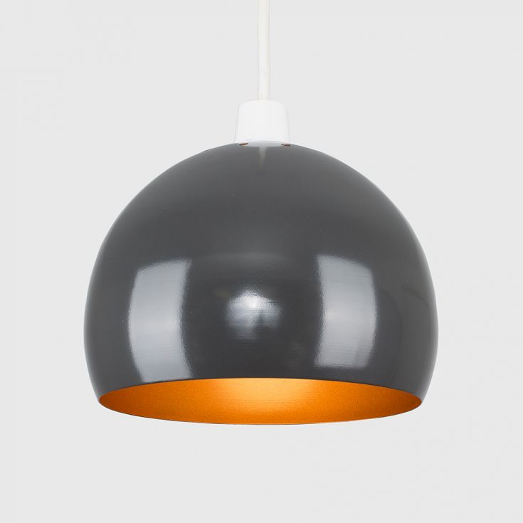 MINI ARCO PENDANT SHADE IN GREY AND COPPER