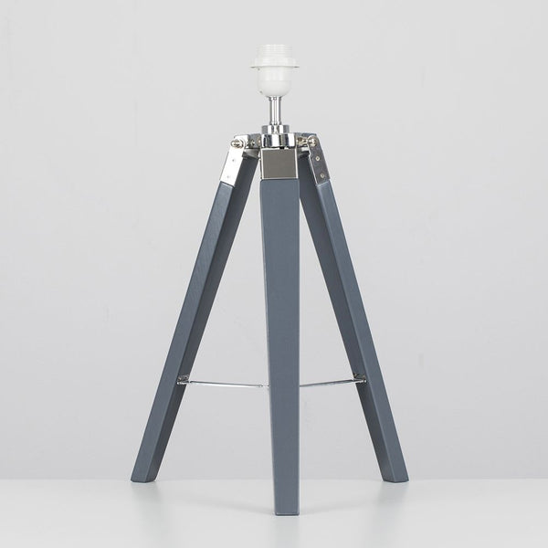 Clipper Grey & Chrome Tripod Table Lamp