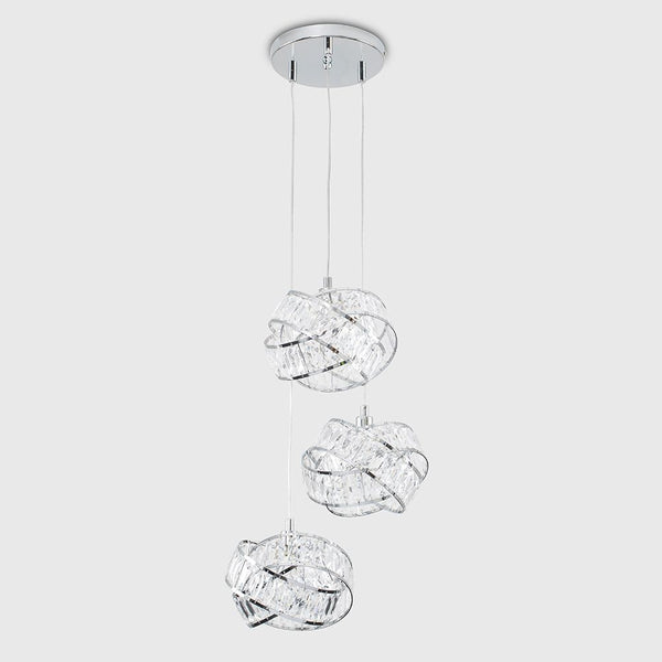 HUDSON INTERTWINED 3 WAY CEILING PENDANT LIGHT CHROME CLEAR