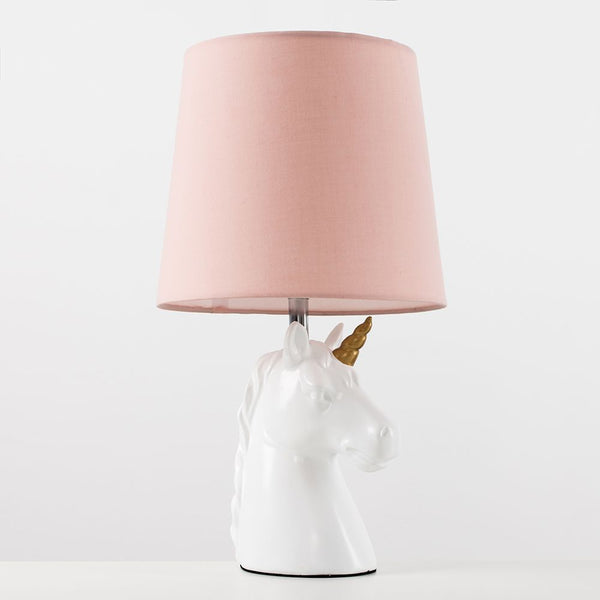Unicorn Ceramic Table Lamp With Dusky Pink Tapered Shade