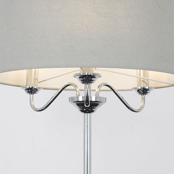 Rocha 3 Way Chrome Floor Lamp With Linen Grey Drum Shade