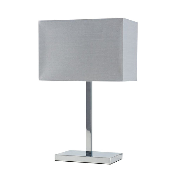 Dewy Chrome Table Lamp With Grey Shade
