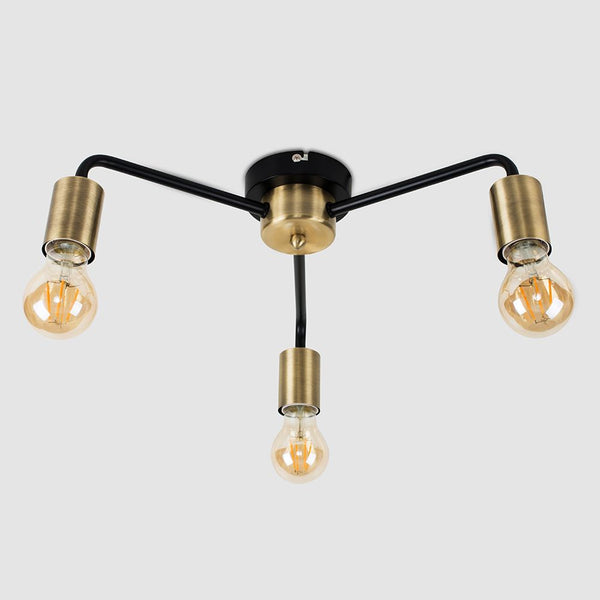 CONNELL 3 WAY CEILING LIGHT IN ANTIQUE BRASS AND BLACK