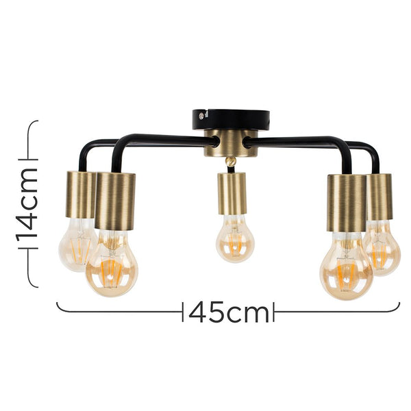 CONNELL 5 WAY CEILING LIGHT IN ANTIQUE BRASS AND BLACK