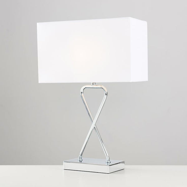 KUROS TABLE LAMP IN CHROME WITH RECTANGULAR SHADE