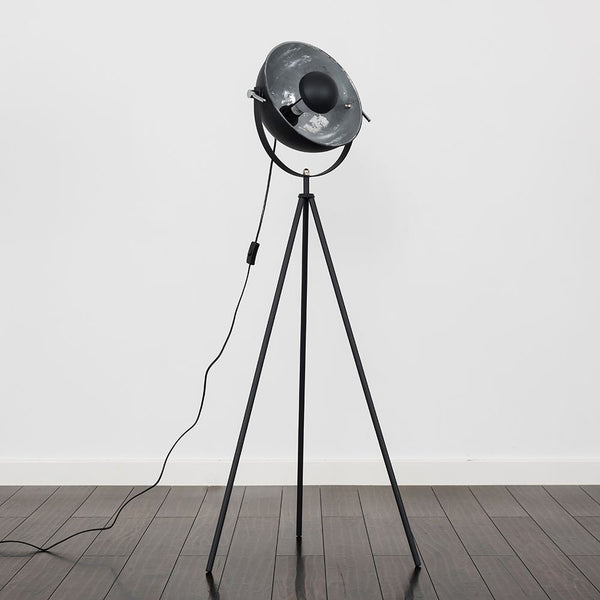 Morpho Grey Tripod Floor Lamp With Silver Inner Shade