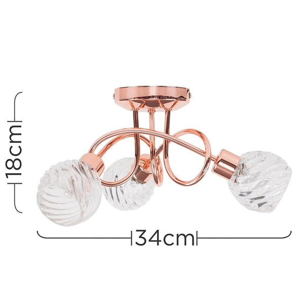 REYKA 3 WAY CEILING LIGHT IN COPPER