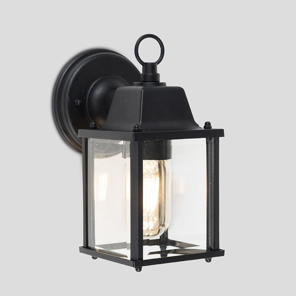 ALLGREAVE BLACK AND GLASS OUTDOOR WALL LIGHT