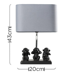 Three Wise Monkeys table Lamp with Grey Shade