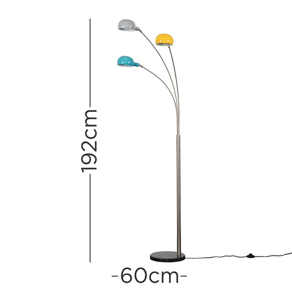 Curva Brushed Chrome Floor Lamp With Multi Coloured Shades