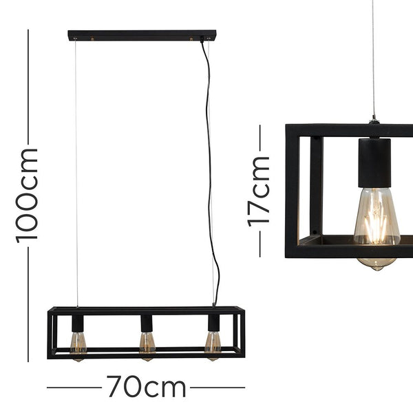 NARVAS 3 WAY MODERN CAGED PENDANT CEILING LIGHT BLACK