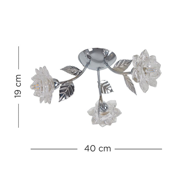 HANA 3 WAY CHROME CEILING LIGHT FLOWER SHADES