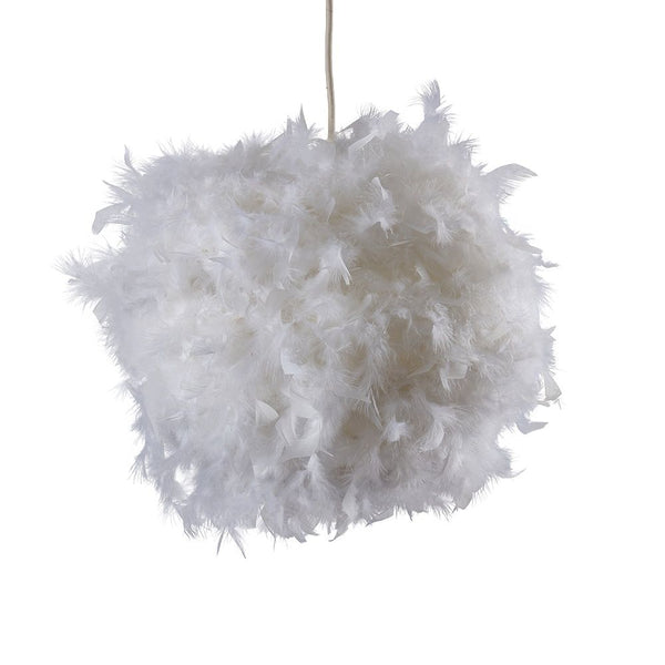 URIEL REAL FEATHER BALL PENDANT WHITE 350MM