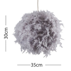 URIEL REAL FEATHER BALL PENDANT GREY 350MM