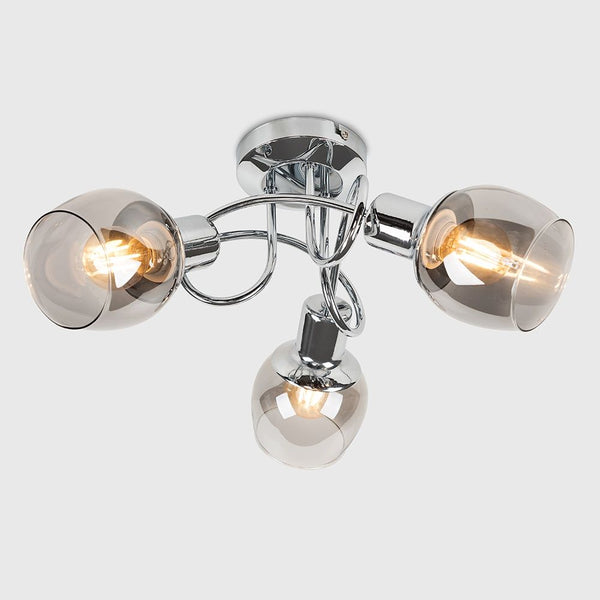 ZARAH 3 WAY CHROME SWIRL CEILING LIGHT