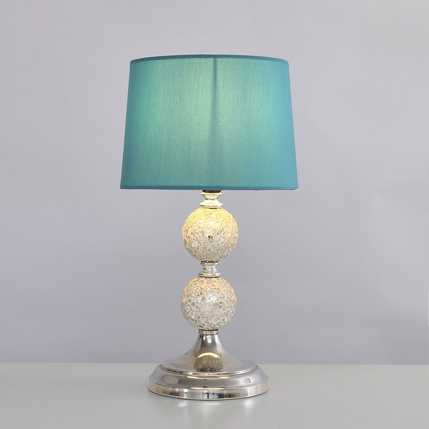 Harmony Mosaic Chrome Table Lamp With Blue Shade