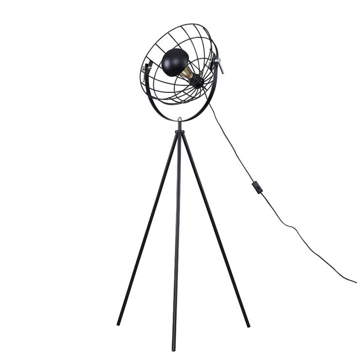 ROTHMAN MATT BLACK TRIPOD FLOOR LAMP WITH WIRE SHADE