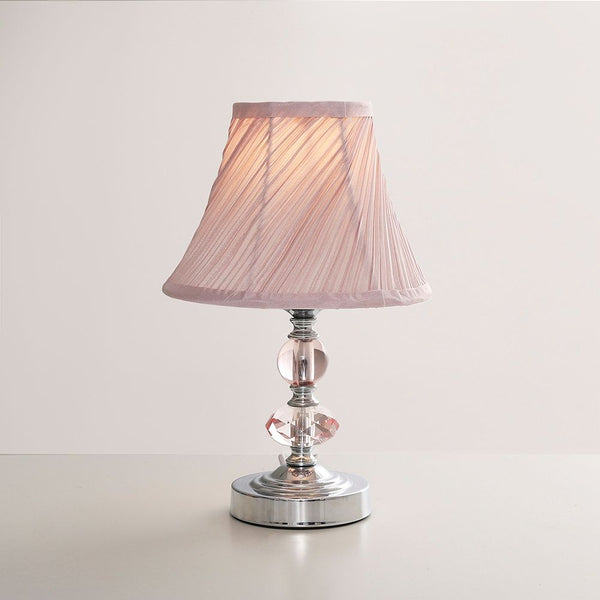 Jaigier Chrome & Dusty Pink Touch Table Lamp With Pleated Shade