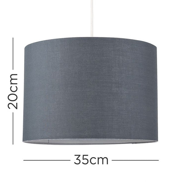 ROLLA KD NE LARGE PENDANT DRUM SHADE DARK GREY