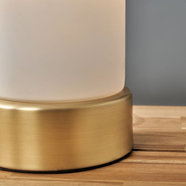 MATT GOLD TOUCH TABLE LAMP WITH GLASS SHADE