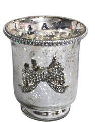 Antique Silver Glass Hurricane Candle Holder