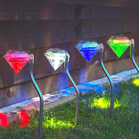 4Pcs Solar Powered Stainless Steel LED Diamond Stake Lights Garden