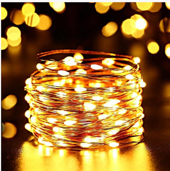 33ft 100 LED Solar-Powered String, 8 Twinkle Modes Warm White Fairy Lights