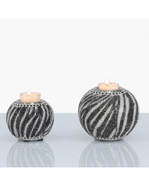 Silver Black & White Tealight Holder