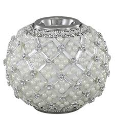 Ball Tealight Holder With Pearl Detail Ivory