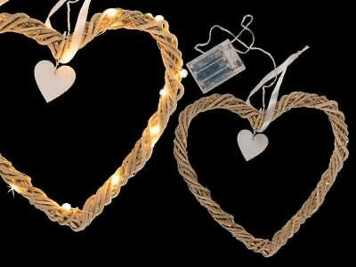 RATTAN HEART WITH WHITE RIBBON, 20 WARM WHITE LED & HEART DECORATION