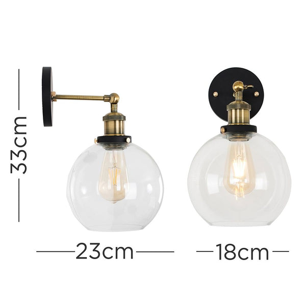 SHERIDAN STEAMPUNK WALL LIGHT CLEAR GLASS SHADE