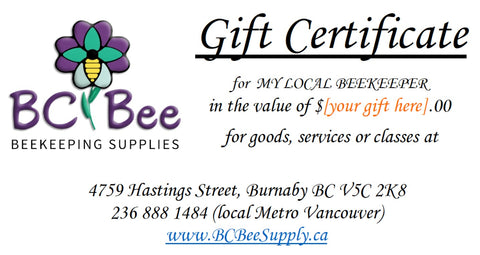 BC Bee Supply - Gift Certificate