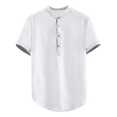 Baggy Solid Cotton Linen Short Sleeve - Men's Essential Store